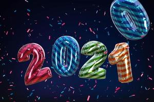 2021 feliz ano novo. feriado 3d festa bollon cor metálica foto