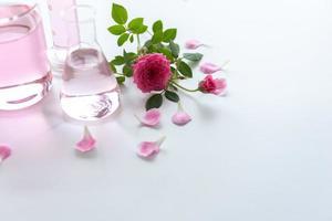 tratamentos de spa com rosas em mesa de madeira branca foto