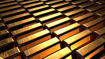 grupo de muitos arranjos de barras de ouro brilhantes em uma fileira foto