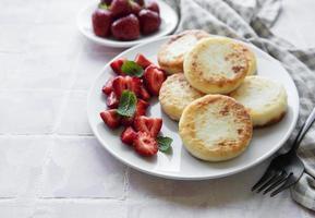 panquecas de queijo cottage, bolinhos de ricota foto