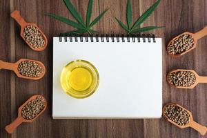 óleo de cannabis e uma colher com sementes emolduradas. foto