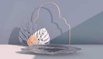 maquete, pódio, display com fundo de planta tropical de folhas monstera, renderização 3D foto