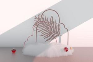 fundo renderização em 3d com pódio e cena de nuvem mínima, fundo de exibição mínimo do produto. foto