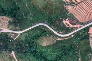 vista superior da estrada de asfalto curva em uma colina na floresta foto