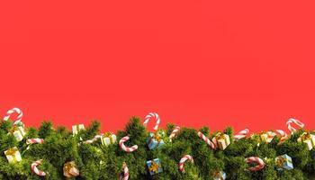 fundo vermelho com guirlanda de natal foto