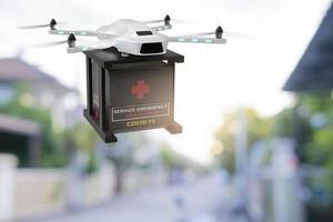 indústria de dispositivos de engenharia de tecnologia de drones voando em logística industrial exportação importação covid 19 serviço de entrega de vacina logística coronavírus transporte transporte para pessoas renderização em 3D foto