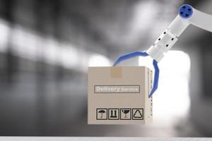 inspeção transporte caixa de carga com robô de mão ai máquina. para seguro de manutenção de serviço com motor de carro. para transporte automóvel automotivo ai e entrega online durante coronavírus covid 19 foto