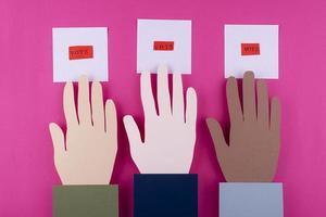 variedade de votação de estilo de papel vista superior foto