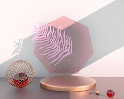 pódio de exibição do produto decorado com folhas em fundo pastel, ilustração 3D foto