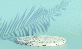 pódio com folhas de palmeira em fundo pastel. vitrine de palco de cena de conceito para produto, promoção, venda, banner, apresentação, cosmético. mínima vitrine vazia mock up. 3d foto