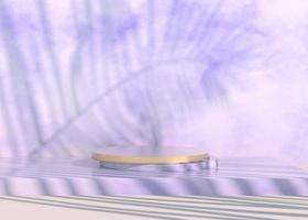 pódio com sombras de folhas de palmeira para apresentação de produtos cosméticos. vazio vitrine pedestal cenário simulado acima. Renderização 3D. foto
