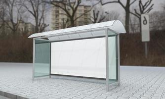 Ilustração 3D da maquete do abrigo de ônibus do ponto de ônibus foto