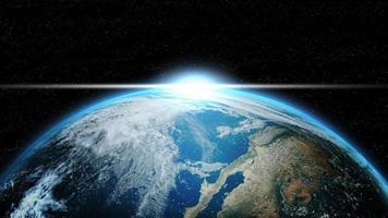 Terra no espaço profundo com iluminação solar foto