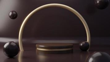 pedestal de produto de cor chocolate escuro no fundo. conceito abstrato de geometria mínima. tema da plataforma do podium do estúdio. exposição e estágio atual de marketing empresarial. Renderização de ilustração 3D foto