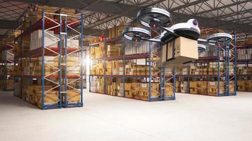 drone de entrega entregando os pacotes ao centro de distribuição e clientes do armazenamento do armazém. conceito de veículo de transporte de tecnologia industrial futurística. Renderização de ilustração 3D foto