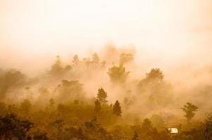 bela paisagem nascer do sol natureza fundo montanhas e céu cor dourada foto