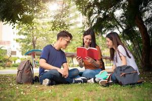 grupo de estudante universitário asiático lendo livros e aulas especiais de tutoria para o exame no campo de grama ao ar livre. felicidade e conceito de aprendizagem de educação. de volta ao conceito de escola. tema adolescente e pessoas foto