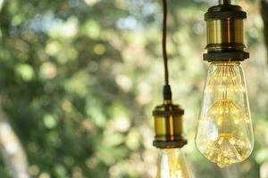 lâmpada elétrica retro clássica led incandescente branco quente sobre fundo desfocado, lâmpada vintage foto