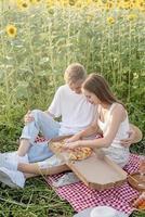 jovem casal fazendo piquenique no campo de girassol ao pôr do sol foto