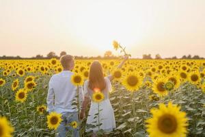 lindo casal se divertindo em campos de girassóis foto