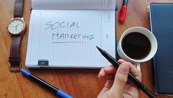 você pode ver que alguém está segurando um marcador na mão e há um texto que diz marketing social, você pode usá-lo para fins comerciais foto
