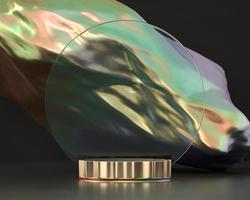 plataforma de pódio de objeto holográfico para exibição de produto renderização em 3D foto
