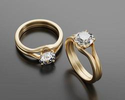 anel de ouro de dois diamantes colocado no fundo brilhante, renderização em 3D foto