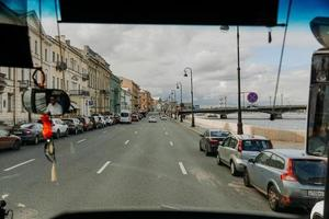 São Petersburgo, Rússia, 2021 - vista da janela do ônibus foto