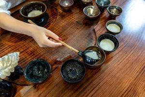processo de fabricação de cerveja e aparelho de chá de kung fu chinês foto