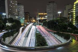 visão noturna do trânsito de veículos no corredor norte-sul do viaduto do cha, em noite de chuva, no centro de são paulo foto