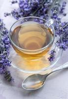 xícara de chá de lavanda foto