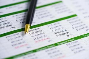 planilha de papel de mesa com caneta. desenvolvimento de finanças, conta bancária, economia de dados de pesquisa analítica de investimento de estatísticas, comércio, conceito de empresa de negócios de relatórios de escritório. foto