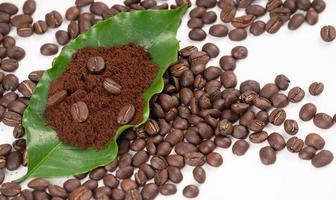 grão de café torrado com folha no fundo branco foto