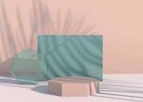 pódio com sombras de folhas de palmeira para apresentação de produtos cosméticos. vazio vitrine pedestal cenário simulado acima. 3d render foto