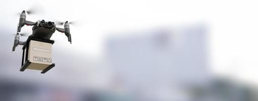 indústria de dispositivos de engenharia de tecnologia de drone voando em logística industrial exportação importação produto serviço de entrega em domicílio logística transporte transporte transporte ou peças de automóveis foto