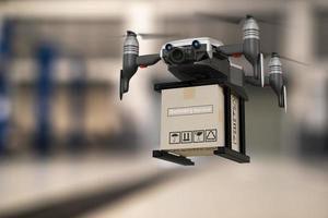 indústria de dispositivos de engenharia de tecnologia de drone voando em logística industrial exportação importação produto serviço de entrega em casa logística transporte transporte transporte ou peças de automóveis de automóveis renderização em 3D foto