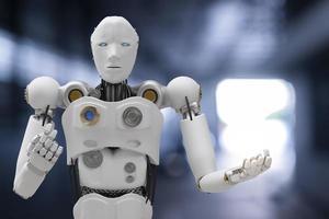 robô cibernético futuro futurista humanóide auto, automóvel, carro automotivo verificar correção na garagem indústria inspeção inspetor seguro manutenção mecânico reparo robô serviço tecnologia renderização 3d foto