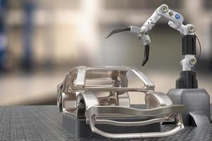 serviço de processamento de produção de carros em robô de fábrica robô de alta tecnologia ai controle de braço robô artificial para concessionária de garagem de tecnologia de carro com tecnologia ciborgue engenharia automotiva renderização 3d foto