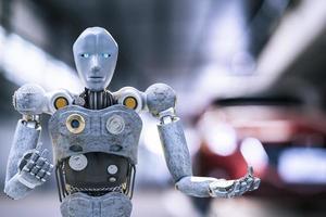 robô cibernético futuro futurista humanóide auto, automóvel, carro automotivo verificar correção na garagem inspeção inspetor seguro manutenção mecânico reparo robô serviço tecnologia foto