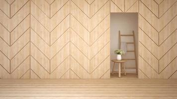 quarto vazio em design de madeira em apartamento ou hotel foto