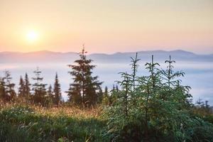 pôr do sol na paisagem de montanhas. céu dramático. cárpato da ucrânia europa foto