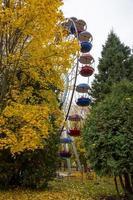 estacionar no outono. roda gigante em um parque da cidade em um dia de outono. foto