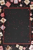 moldura vertical balões e fitas de caixa de presente de fundo de Natal e ano novo foto