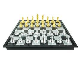 conceito de jogo de tabuleiro de xadrez de ouro e prata rei e cavaleiro de ideias de negócios e conceito de ideias de competição e estratégia, vista de cima foto