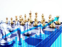 dupla exposição do conceito de jogo de tabuleiro de xadrez de sucesso empresarial foto