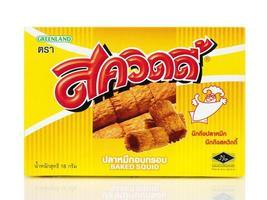 Bangkok, Tailândia - 30 de janeiro de 2019, caixa de marca squidy, salgadinhos tailandeses isolados no fundo branco, feitos na Tailândia foto