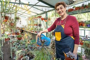 mulher madura feliz cuidando de suas plantas e regando-as, em seu jardim foto