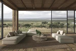 sala de estar de espaço aberto de design de interiores moderno. casa terraço ao ar livre 3d rendem a ilustração. foto