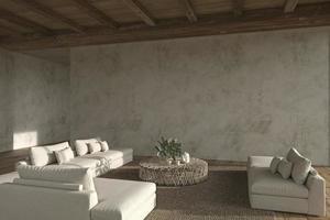 sala de estar de espaço aberto de design de interiores moderno. casa residencial 3d rendem a ilustração. foto