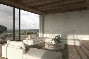 sala de estar de espaço aberto de design de interiores moderno. grandes janelas e vista para a natureza. casa terraço ao ar livre 3d rendem a ilustração. foto